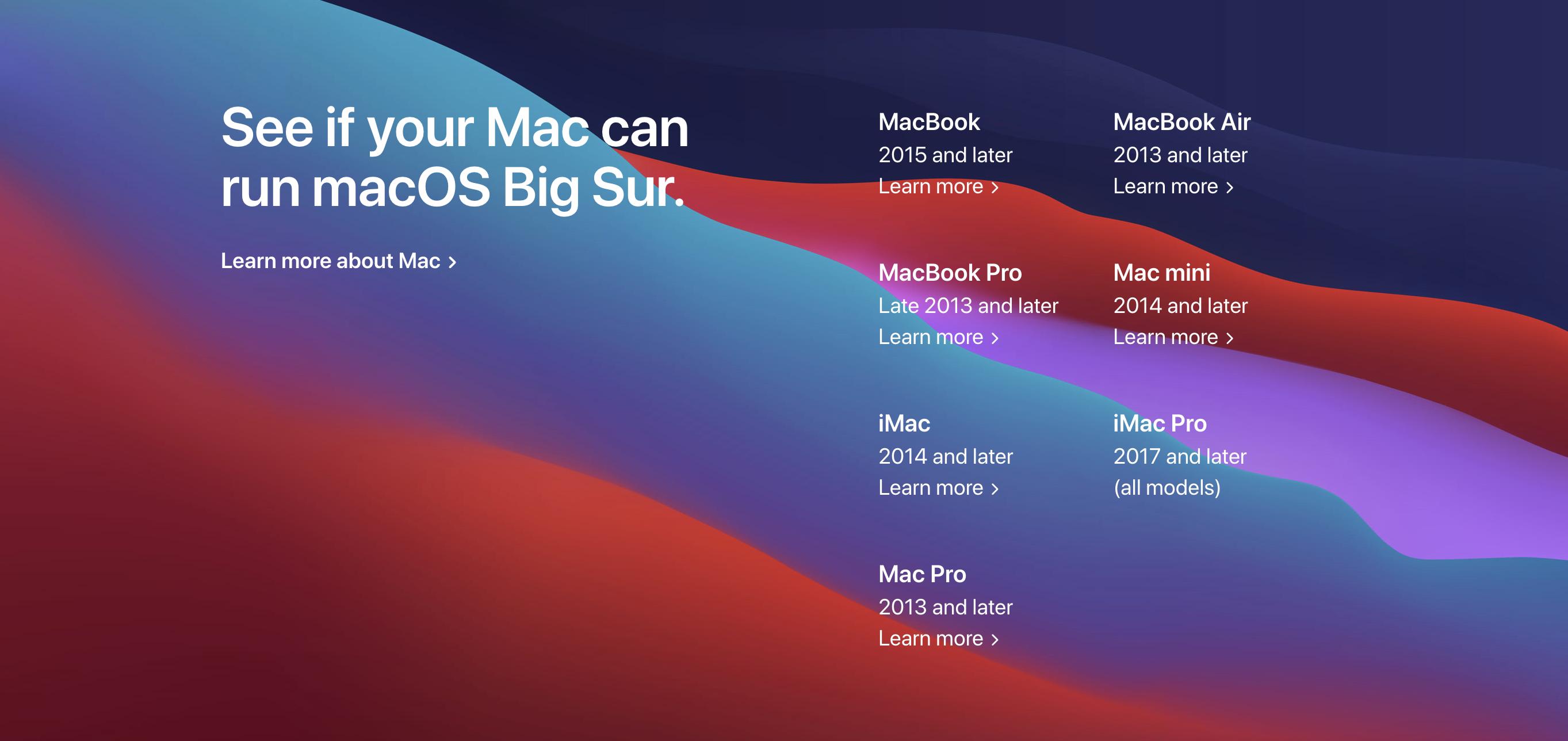 Поддерживаемые девайсы macOS Big Sur